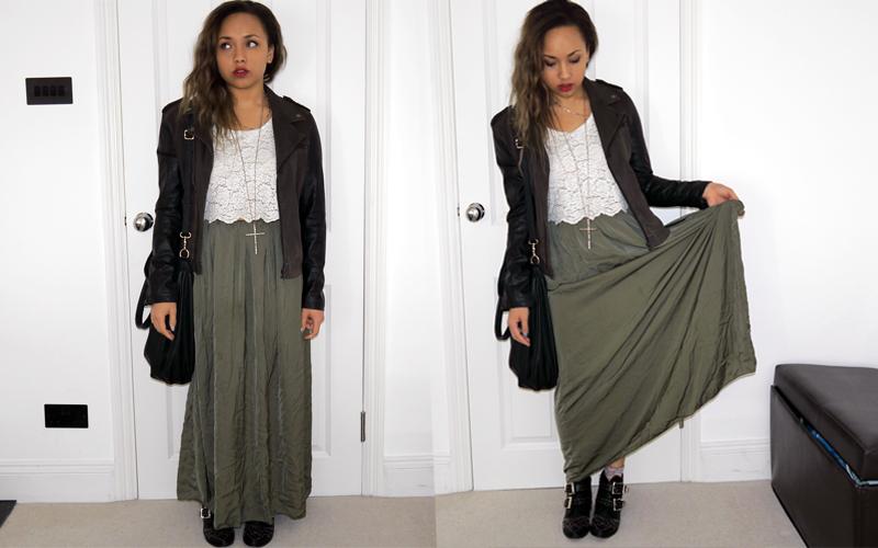 Khaki Skirt Outfit - Skirts